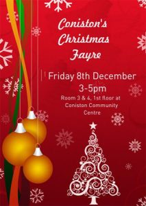 It's the most wonderful time of the year. So, come on down to Coniston Community Centre's Christmas Fayre, there is plenty going on. If you would like to book a stall and show us what you've got contact Amelia Wheeler at info@conistoncommunitycentre.org.uk